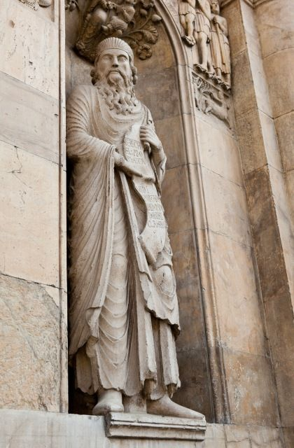 Statue of Ezekiel by Benedetto Antelami. Niche to right of the central portal, west facade, late 12th century. Fidenza Cathedral, Emilia-Romagna, Italy.