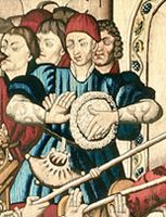 Cäsarenteppich (Ausschnitt aus Detail), Burgundische Niederlande, um 1450/70, Wolle und Seide. Bern, Historisches Museum, Inv.-Nr. 12–13 © Bern, Historisches Museum