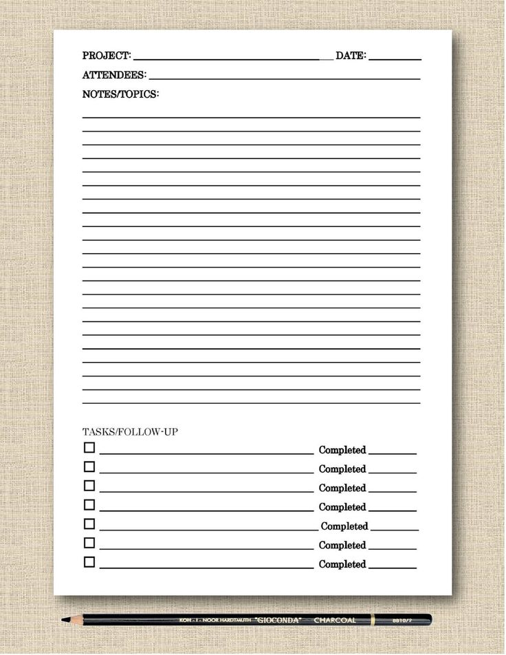 Life's Lists Printable Meeting Notes Black & White Printable Template - Instant Download by LifesLists on Etsy https://www.etsy.com/listing/507902444/lifes-lists-printable-meeting-notes