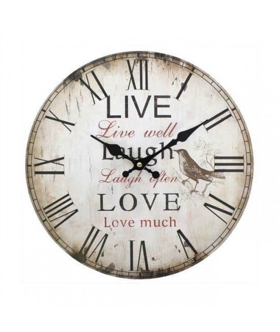 Ceas pentru perete cu mesaj, cu design elegant, de lemn. Este o decoratiune frumoasa pentru casa, ceasul fiind inscriptionat cu textul Live well, Laugh often, Love much!  #cadouri #nunta