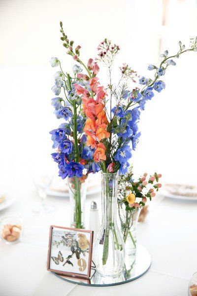 Spring #wedding #centerpiece idea - mirror centerpiece with tall flowers and mirror table number {Hyde Park Photography}