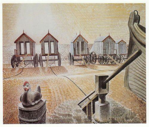 Bathing Huts Machines Eric Ravilious vintage print 1983 ready mounted SUPERB | eBay