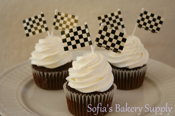 24 Checkered flag cupcake decorations for 12 cupcakes race car theme
