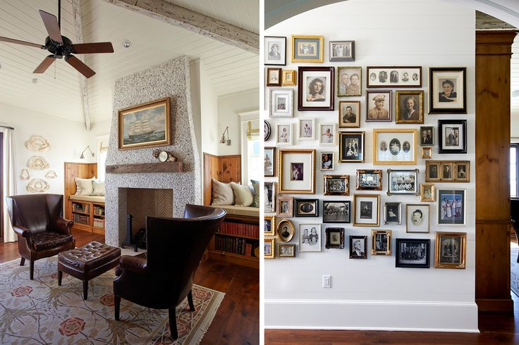 fabulous photo wall: abundance of sepia and black-and-white photographs give warmth; varied metal frames create a cozy, less-formal feel