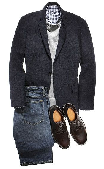 Two-button wool jacket ($328), fleece sweatshirt ($55), cotton shirt ($70), cotton jeans ($96), and leather shoes ($155) by J. Crew. Read more: http://www.esquire.com/blogs/mens-fashion/frank-muytjens-profile-1010#ixzz1jpOBMfd4