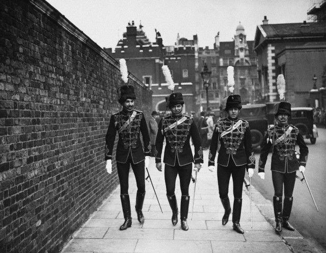 Royal Hussars walking near St. James's Palace