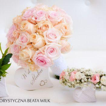 Pastelowe róże bukiet ślubny