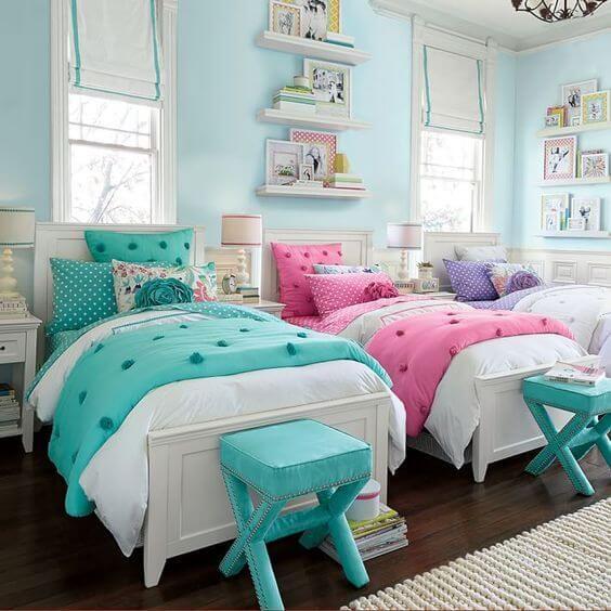 Se você têm mais de uma filha e apenas um quarto para que elas dividam então esta seleção de fotos pode ser a fonte de inspiração que você precisa!