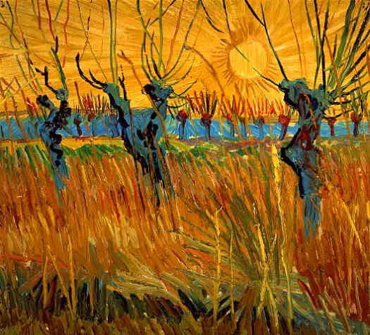 Van Gogh Hij slaagt er wonderbaarlijk goed in om deze moeilijke compositie te laten slagen. De zon heeft iets onwerkelijks en door de compositie heeft het een ietwat beklemmende indruk. Toch geeft het wel de pracht van de natuur en de zon mooi weer.