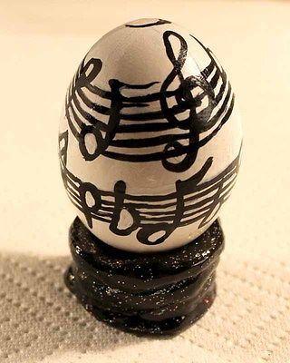 NFAC-Black-and-White-Painted-Egg-OOAK-Stripes-with-Music-Notes-Glitter-Stand