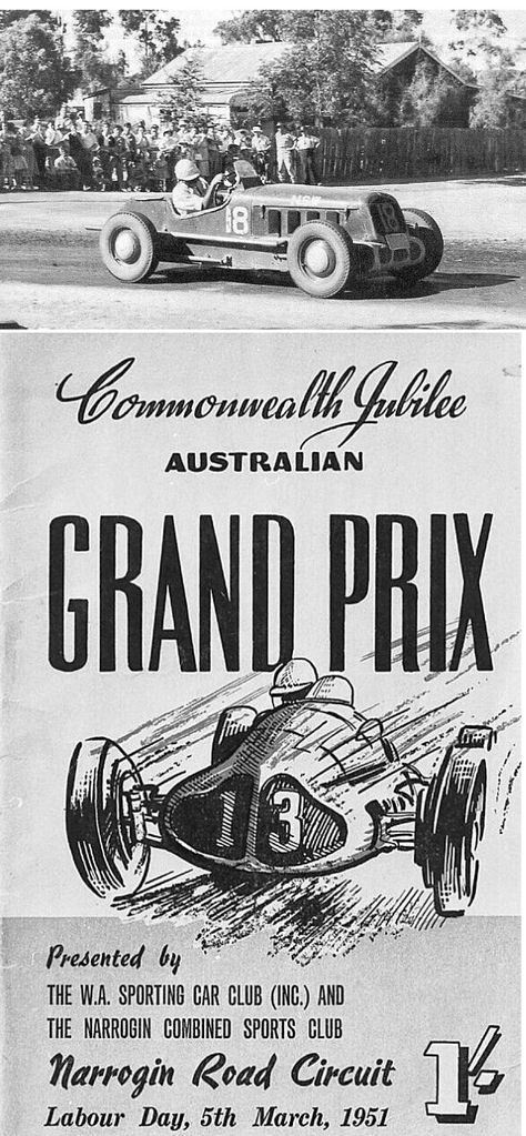 Australian driver Warwick Pratley drove his Reed V8 Ford Special (pictured) to victory in the Commonwealth Jubilee Australian Grand Prix on 5 March 1951. The Formula Libre race was attended by about 35,000 race fans, and contested on a street circuit in Narrogin, Western Australia.