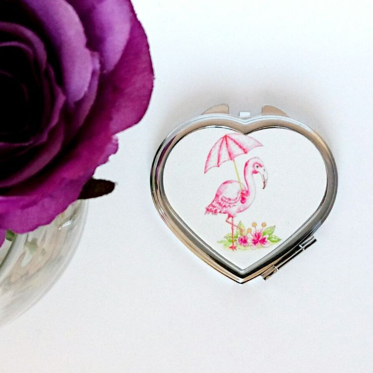 Flamingo pocket mirror Personalised mirror mothers day gift Compact mirror Pink bridesmaid gift present make up mirror by SueRocheIllustration on Etsy