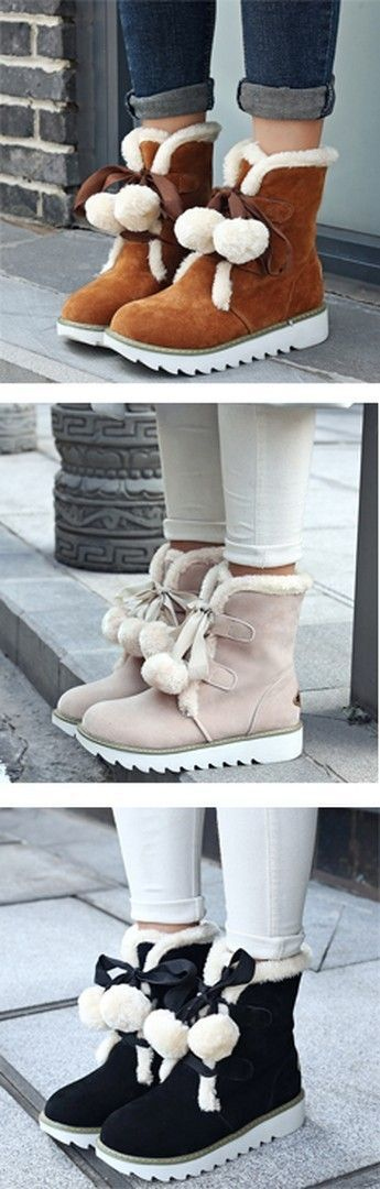 Shoespie Solid Color Shearling Front Lace Up Snow Boots