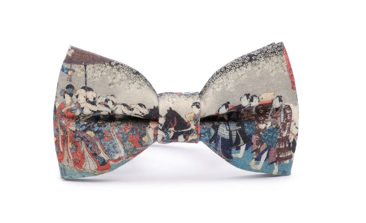 JAPAN-ART bow tie! Certificated, printed cotton.