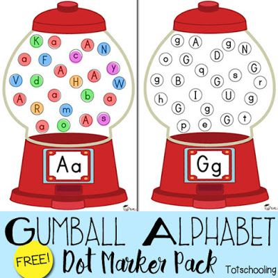 Gumball Alphabet Do-a-Dot Marker Pack   Totschooling - Toddler and Preschool Educational Printable Activities