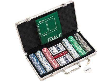 """#Pokerspiel """"Las Vegas"""" im silberfarbigen Koffer: 300 Jetons 2 #Kartenspiele, 5 Würfel, 1 Dealer-Chip, inkl. grünemTeppich zum Auslegen der Spielfläche"""