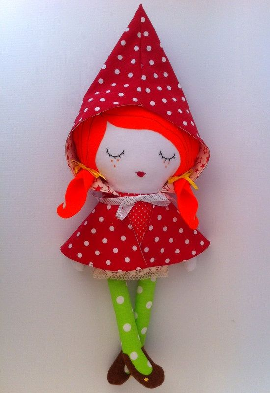 Little Red Riding Hood Cloth rag fabric doll, best gift for girls, Handmade stuffed, cuddle doll,