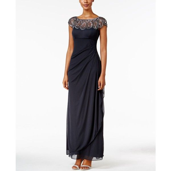 Xscape Embellished Illusion Draped Gown (5.010 CZK) ❤ liked on Polyvore featuring dresses, gowns, charcoal, charcoal dress, charcoal grey dress, sparkly dress, white dress and embellished gown