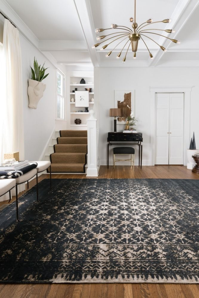 Stencil a jute/ burlap rug or fabric to look like this Journey Rug - Black/Tan by Loloi by using tile &/or border stencils.