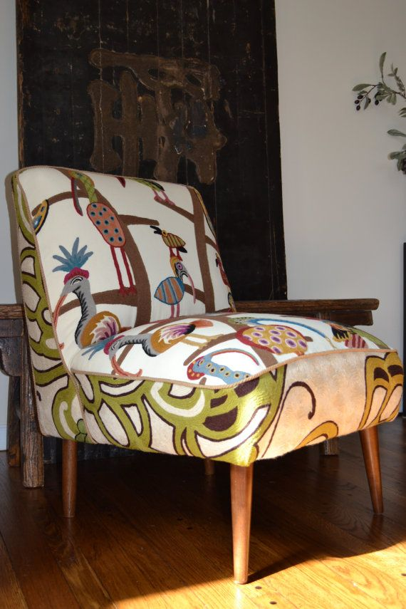 Sell, Restored Mid Century Slipper Chair, Crewel By Clarence House  Whimsical Pattern Polly Birds Toile Embroidery Fabric | Sew Decorative |  Pinterest ...