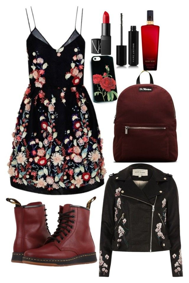 """Back to School Girl Fashion"" by saffaatun on Polyvore featuring The 2nd Skin Co., River Island, Marc Jacobs, NARS Cosmetics, Dr. Martens, Victoria's Secret, men's fashion and menswear"