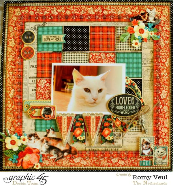 Love this Raining Cats & Dogs layout from Romy! What a purrfect creation #Graphic45 #layouts