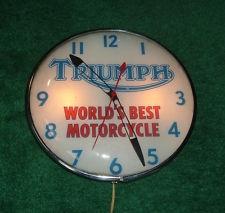 GENUINE 1950s TRIUMPH MOTORCYCLE DEALER CLOCK PAM LIGHT-UP SIGN BONNEVILLE TIGER