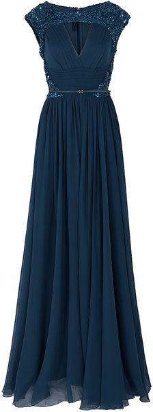 Elie Saab Chiffon Beaded Cap Sleeve Gown in Blue (cherry) - Lyst