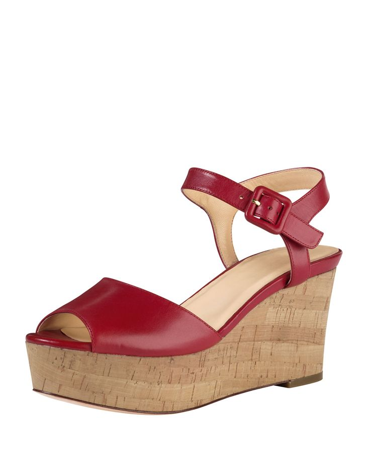 Cole Haan Gillian Mid-Heel Wedge Sandal, Tango Red