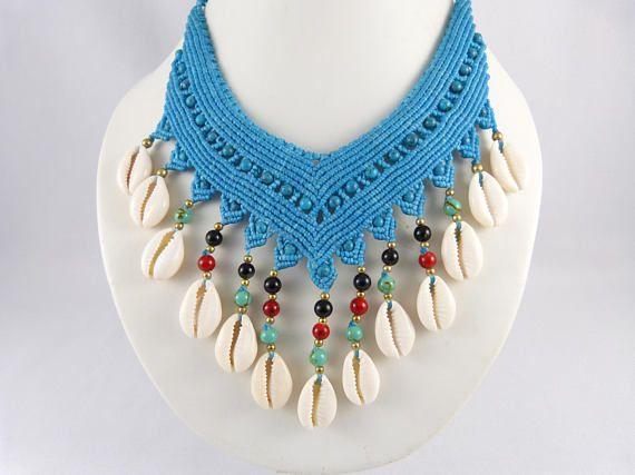 e539557d674c Collier Cowrie Shells Micro Macrame Turquoise Choker Necklace ...