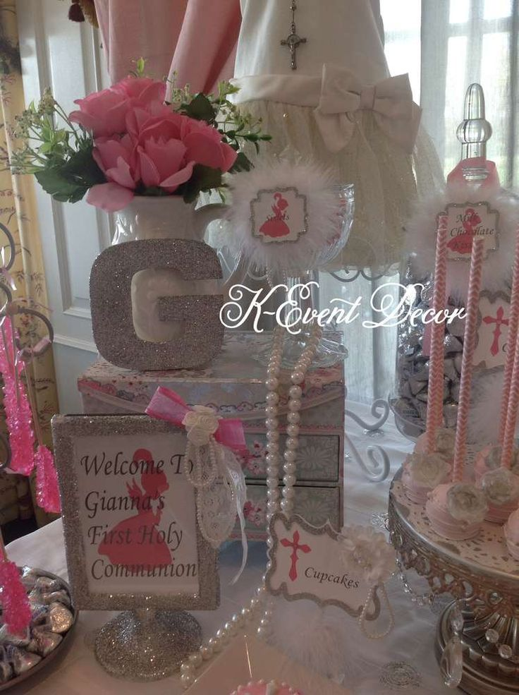 1st Communion pink & silver 1st Communion Party Ideas | Photo 1 of 13 | Catch My Party