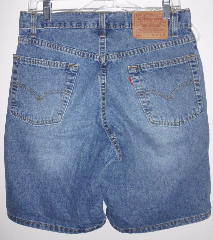 LEVI'S 550 Distressed Relaxed Fit Medium Wash Denim Blue Jean Shorts Sz 31 Men's #Levis #Relaxed