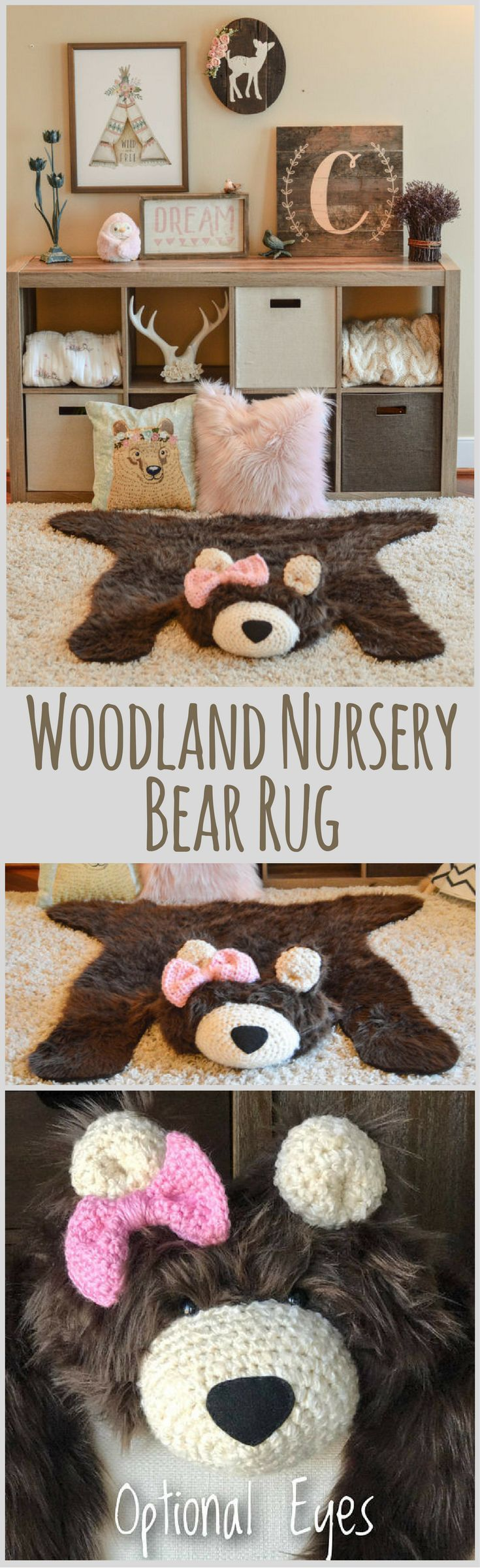 Maybe the cutest thing I've ever seen?? And it fits right in with the rustic farmhouse look that I go for! Baby Girl's Woodland Nursery Teddy Bear Faux Bearskin Rug, Girl's Bedroom, Giant Teddy Bear Rug with Pink Crochet Bow, Girl Teddy Bear, Mama Bear Rug, Woodland Nursery Theme for Girl's Bedroom. Handmade Rugs, Hand Made Bearskin Rug, Faux Fur, Rustic Woodland Nursery #affiliatelink