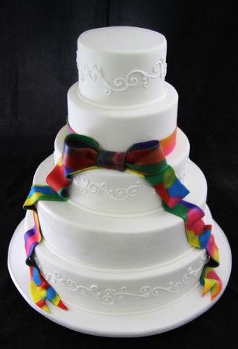 Tie Dye Ribbon Wedding Cake.....More traditional hippie wedding cake @Carly k. k. King