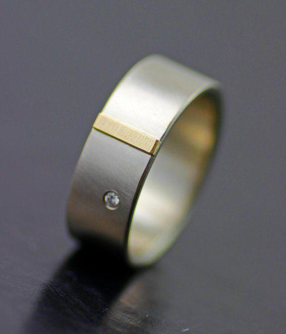 Image of men's wedding ring - gold tab palladium wedding band with diamond