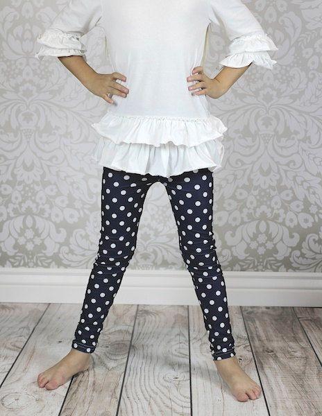 Navy with White Polka Dots Print Leggings, Adult legging, girls leggings, toddler legging, baby legging, aztec legging