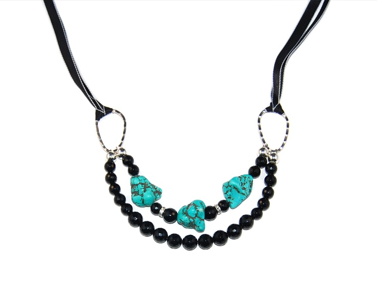 beautiful turquoise and black necklace! www.zabe.com.au