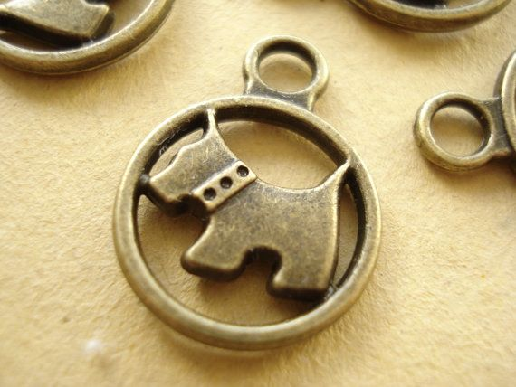 10pcs Dog Round Charms Pendant Drop Antiqued by yooounique on Etsy, $3.95