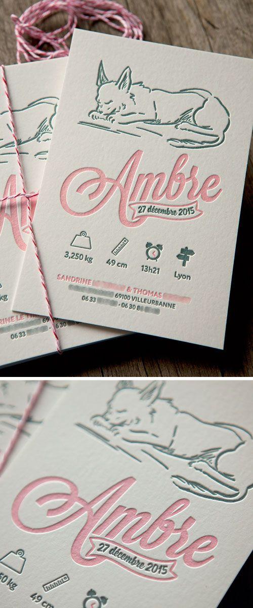 Faire-part naissance Ambre en 2 couleurs feutre 500g / letterpress baby announcement printed in two colors