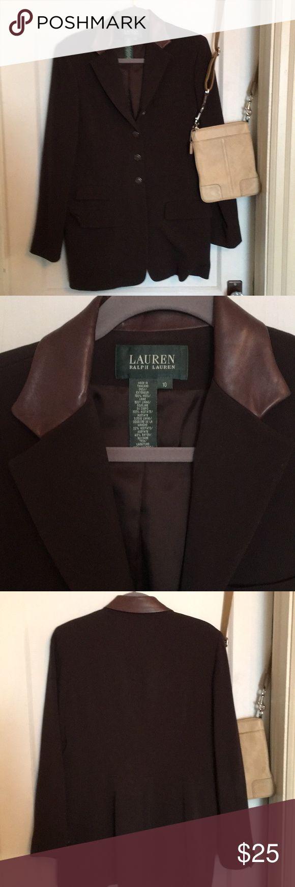 "Brown suit jacket leather collar  size 10 woman Great shape  Across bust 19"" Length 30"" from collar in back Lauren Ralph Lauren Jackets & Coats Blazers"