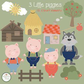 Los tres cerditos Imágenes Prediseñadas, tan lindo... incluye todos los personajes del cuento clásico...  Pack incluye little piggies, lobo, casas, árboles y arbustos...  Perfecto para partido invita, scrapbooking, tarjetas de felicitaciones y manualidades todo guarros... ======================================================================================================  Sistema digital de 12 elementos del arte de clip. Todas las artes de clip son 300 ppp, así que son archivos de alta…