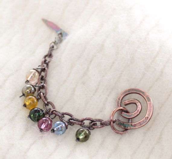 Shawl pin stick scarf pin with multicolored dangles by IngoDesign,