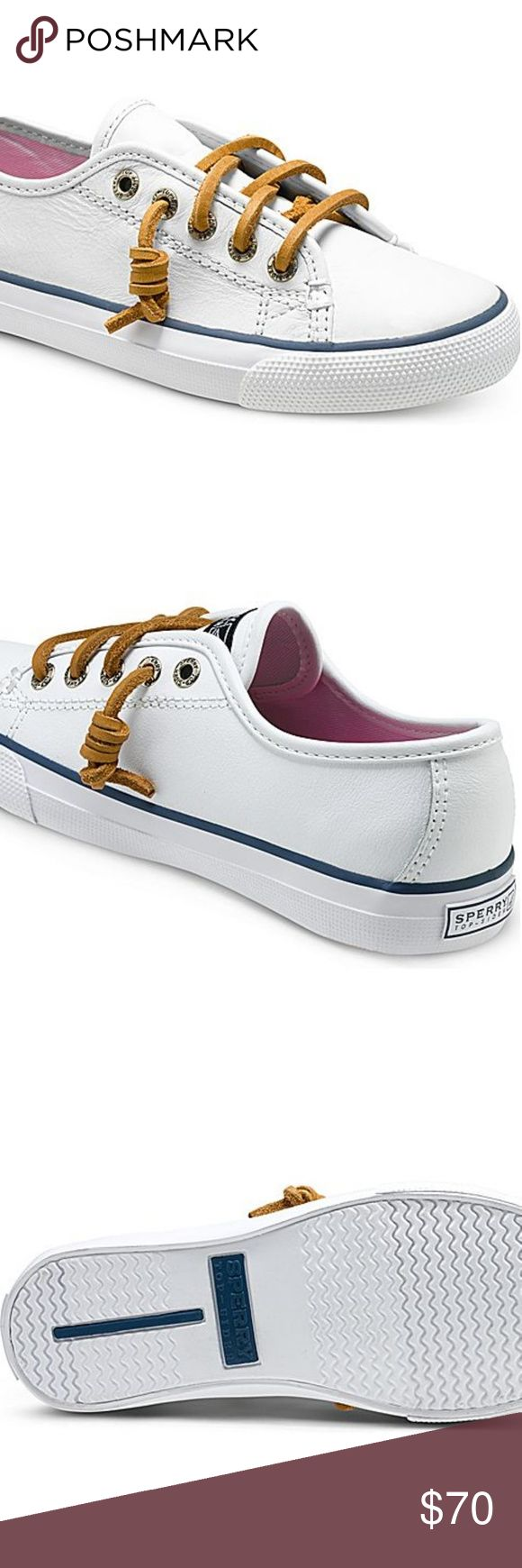 """White Leather Sperry's -White leather upper -Easy slip on/off  Make your own sale by making an offer! Don't comment your offer, send it via the offer feature.  You can also make offers on bundles.  Cheaper on Ⓜercari Link is on my """"about""""  Clean home, smoke-free/no furry friends inside Sperry Top-Sider Shoes"""
