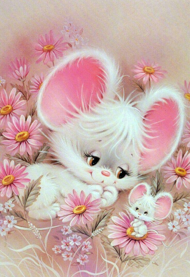 Открытка мышка девочка, марта нарциссы