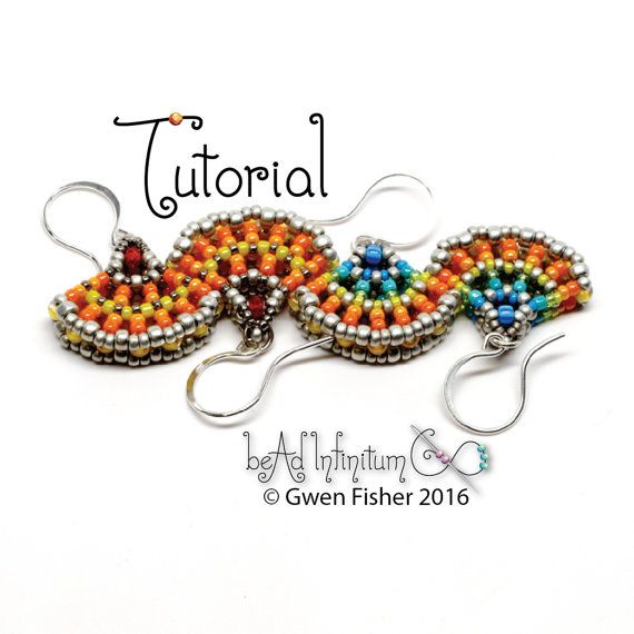 TUTORIAL Beaded Ginkgo Leaf Earrings Made with Cubic by gwenbeads