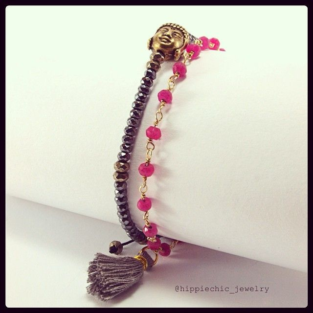 Buddha bracelet with pyrite and hematite - Zen bracelet gold-filled with pink Jade #handmade #hippiechicjewelry