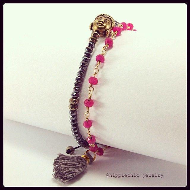 Buddha bracelet with pyrite and hematite - Zen bracelet gold-filled with pink Jade #handmade #hippiechicjewelry