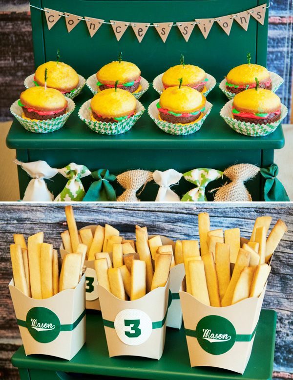 """Hamburger cupcakes and sugar cookie french fries for a vintage baseball party """"concessions"""" stand."""