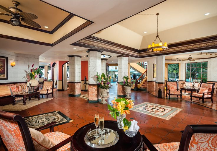 The lobby of Sandals Negril provides a warm welcome.