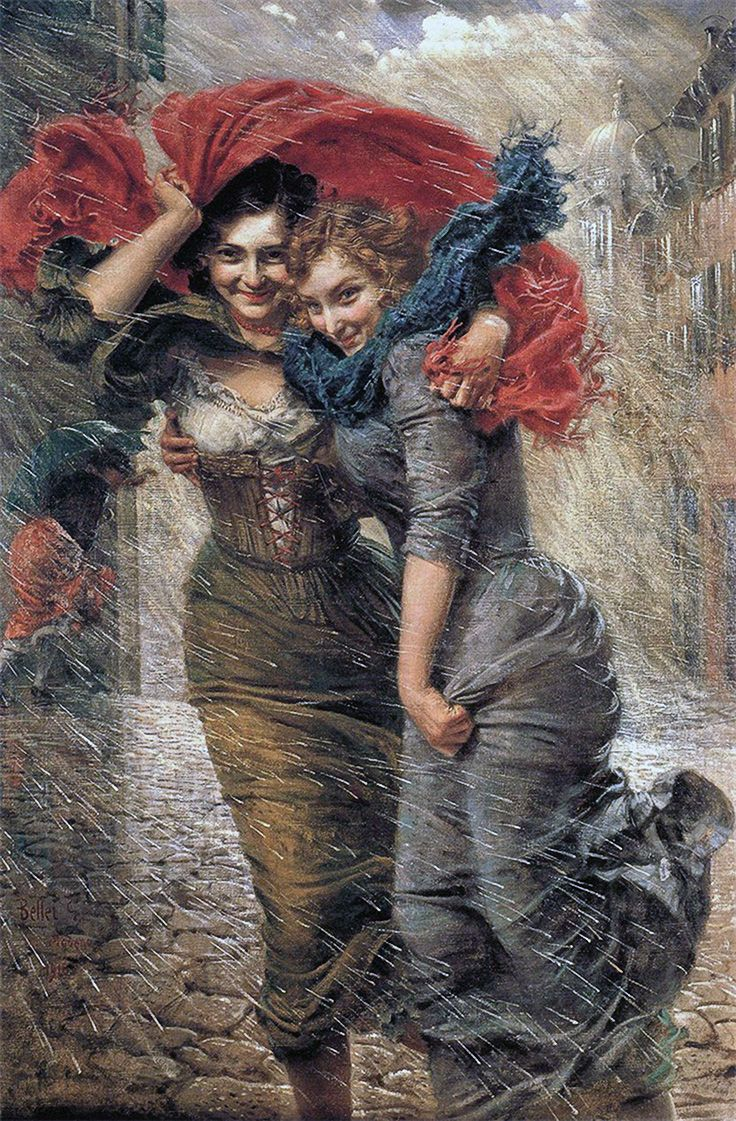 Gaetano Bellei (Italian, 1857–1922), oil on canvas, 1916 {figurative art beautiful females in rainstorm painting color corrected for yellowed varnish #arthistory #twentiethcentury #2good2btrue}